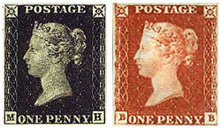Penny Black & Penny Red Stamp